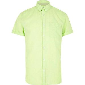Neon linen-rich short sleeve shirt