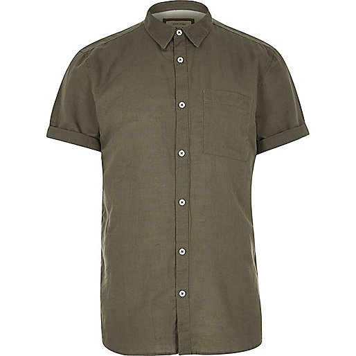 Khaki linen-rich short sleeve shirt