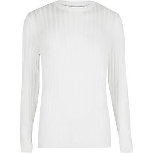 White chunky ribbed muscle fit top