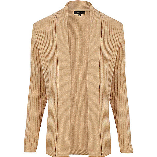 Light brown waffle muscle fit cardigan