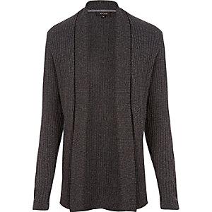 Dark grey ribbed muscle fit cardigan