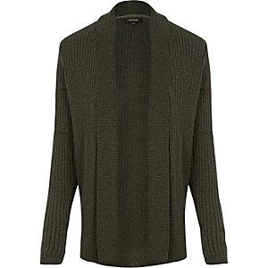 Dark green waffle muscle fit cardigan