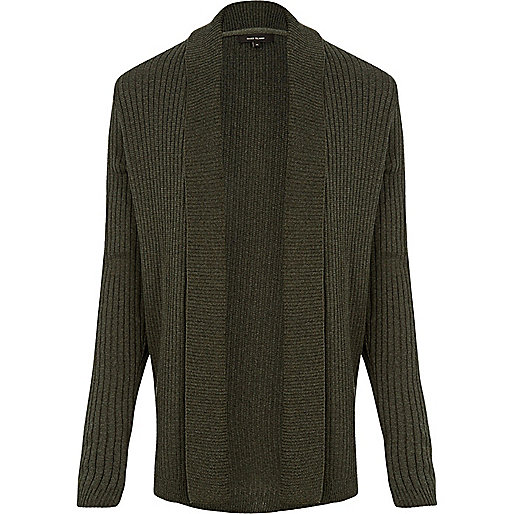 Dark green waffle muscle fit cardigan