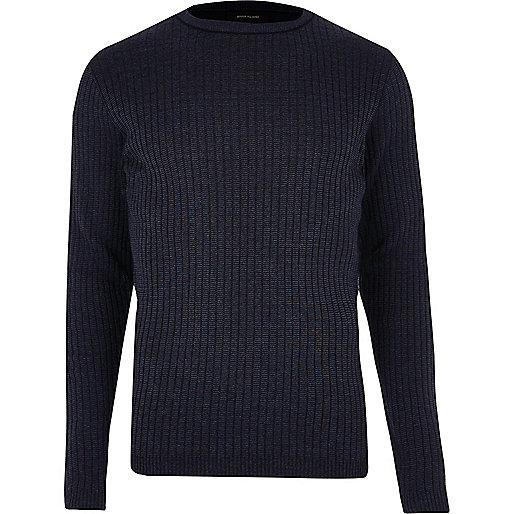 Dark blue ribbed jumper