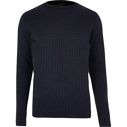 Dark blue ribbed sweater