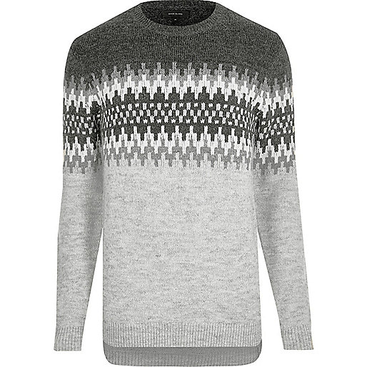 Light grey fairisle knit jumper