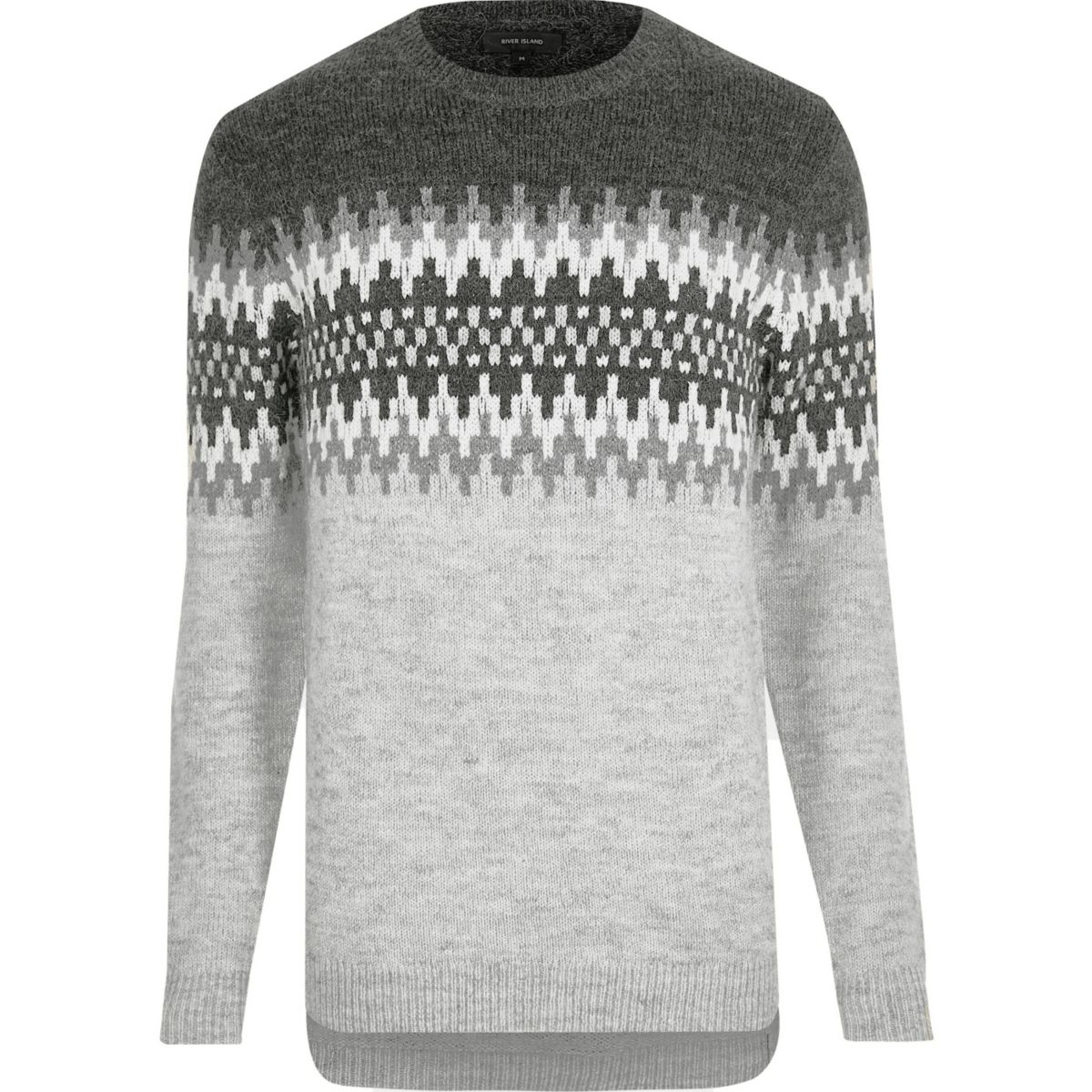 Light grey fairisle knit jumper