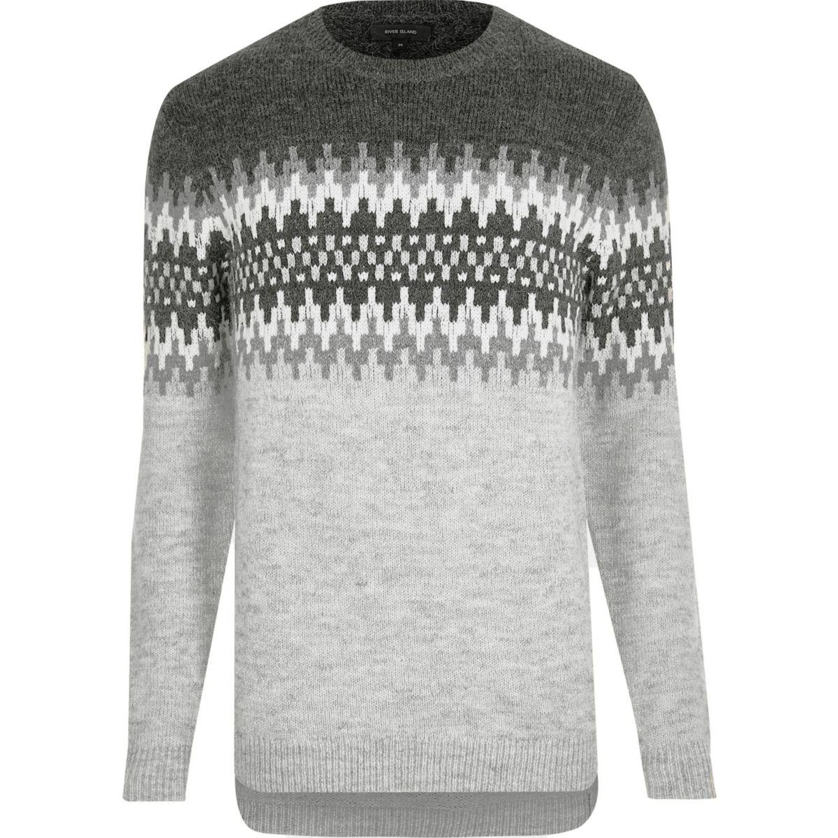 Light grey fairisle knit Christmas jumper