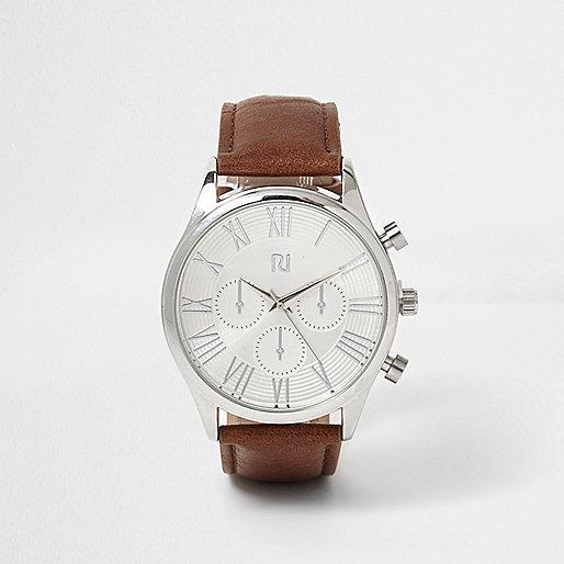 Silver & dark brown Roman numeral watch