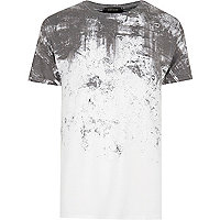 White cracked fade print T-shirt