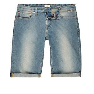 Light blue wash skinny fit denim short