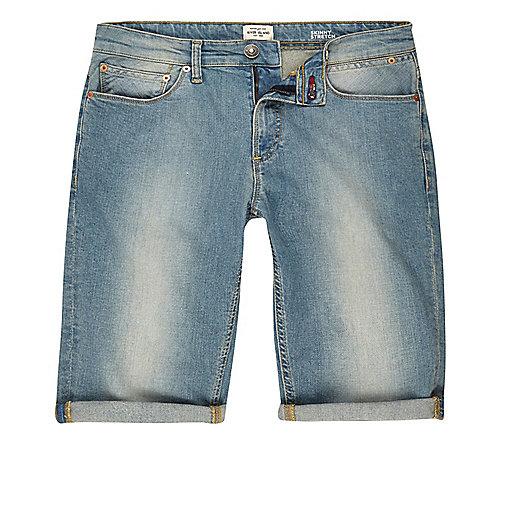 Short en jean bleu clair délavé coupe skinny