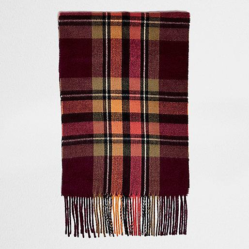 Orange tartan scarf