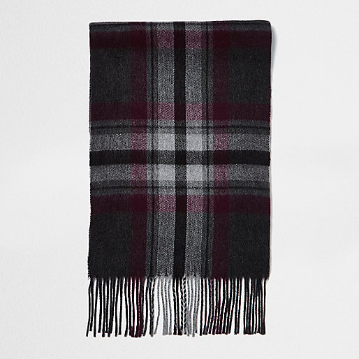 Écharpe à motif écossais grise