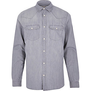 Grey casual western denim shirt