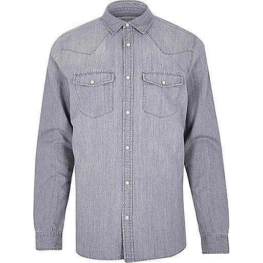 Chemise en jean grise casual style western