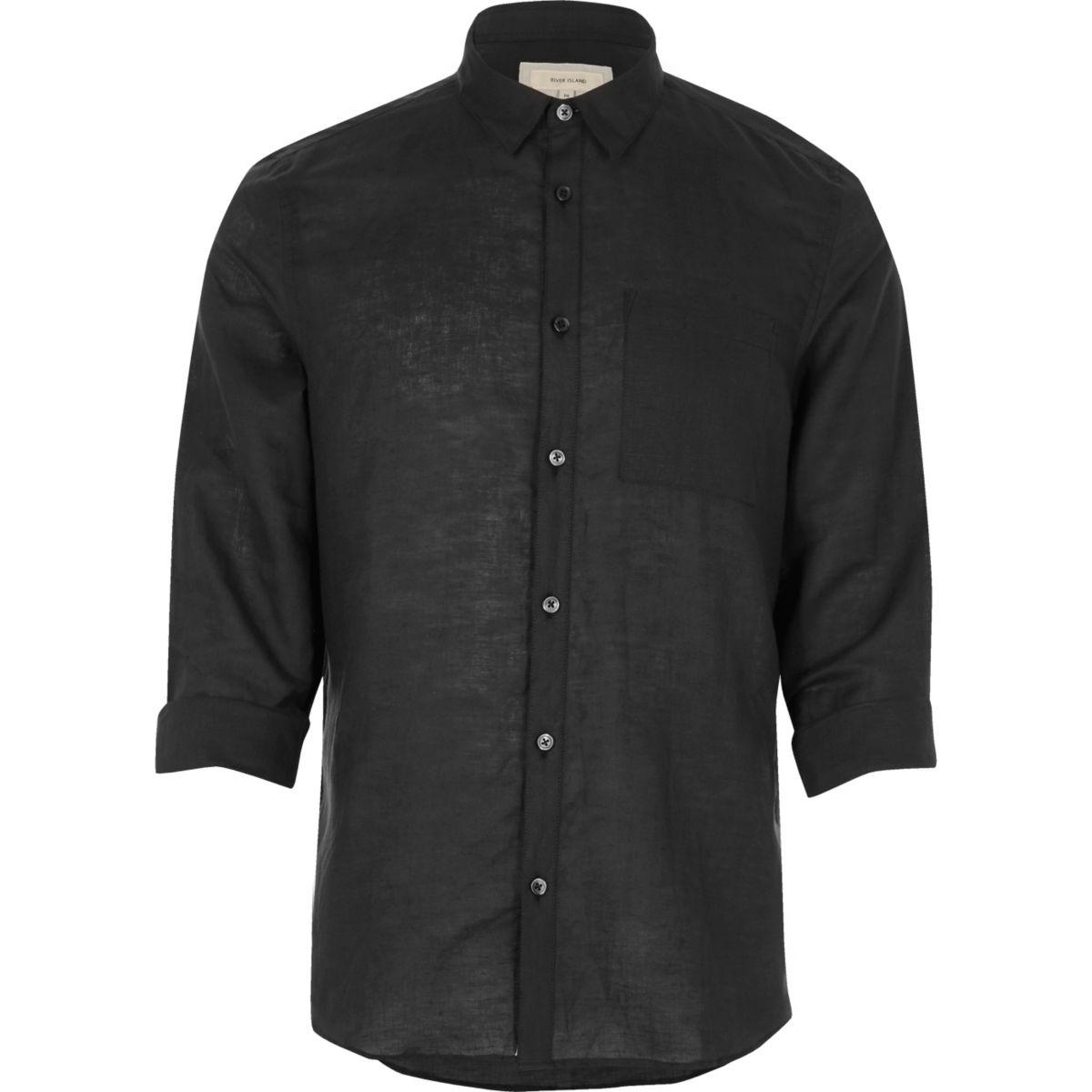Black linen-rich shirt
