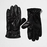 Schwarze, perforierte Bikerhandschuhe aus Leder