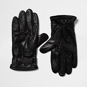 Black perforated leather biker gloves