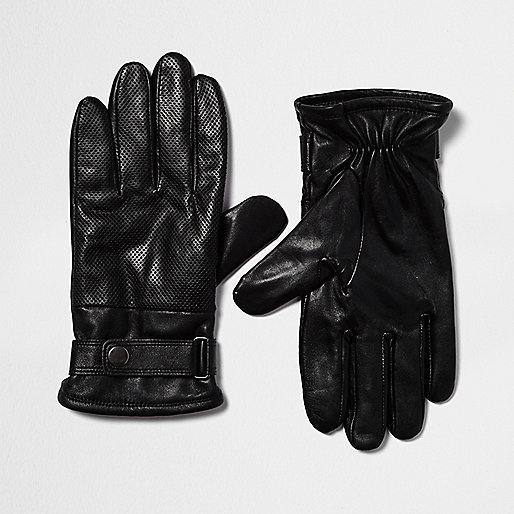 Gants de motard en cuir noirs perforés