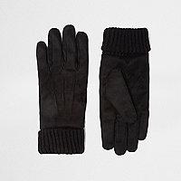 Black suede cuff knit gloves
