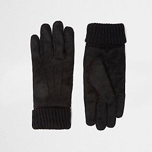 Zwarte suède handschoenen met gebreide boord