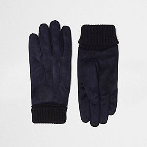 Marineblauwe suède handschoenen met gebreide boord
