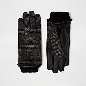 Grijze geruite handschoenen
