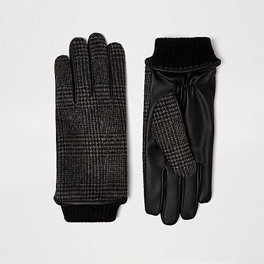 Grey check gloves