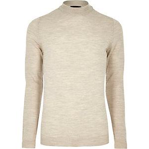 Stone merino wool high neck jumper