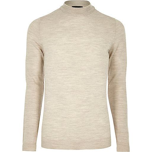 Stone merino wool high neck sweater