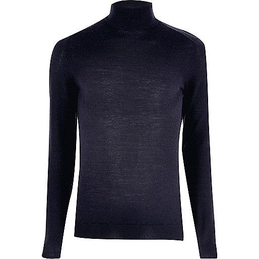 Navy merino wool roll neck sweater