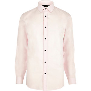 Pink formal slim fit poplin shirt