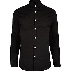 Black formal skinny fit poplin shirt