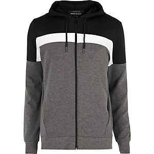 Black colour block zip up hoodie