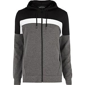 Black colour block zip up hoodie