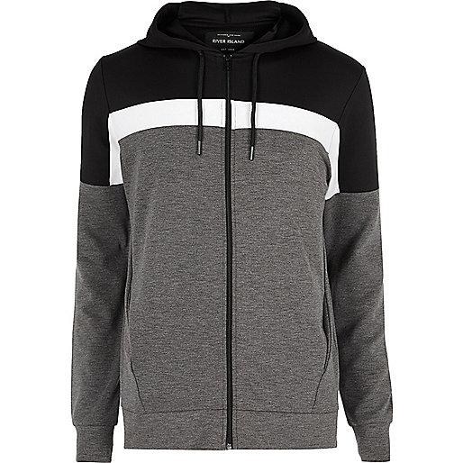 Black color block zip up hoodie