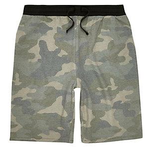 Green camo jogger shorts