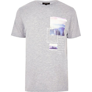Grey multi scene print T-shirt
