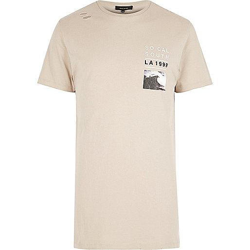 Langes T-Shirt in Ecru mit Tasche