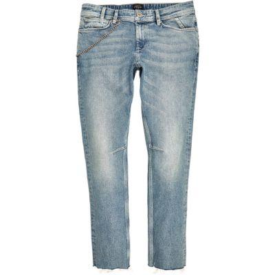 Sid light wash skinny jeans met ketting