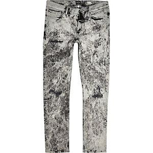 White acid wash stud skinny jeans