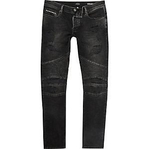 Black biker Danny super skinny jeans