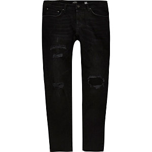 Jimmy zwarte ripped smaltoelopende jeans