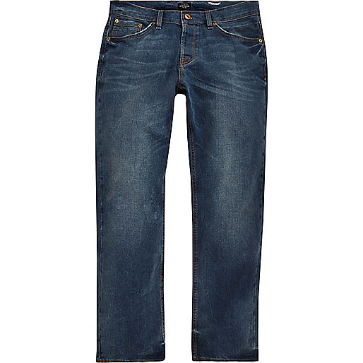 Mid blue wash Dean straight jeans