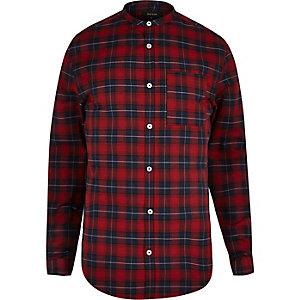 Red casual slim fit grandad check shirt