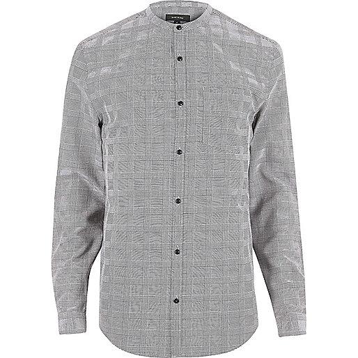 Grey check slim fit grandad shirt