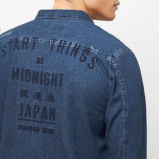 Chemise en jean bleu effilochée casual