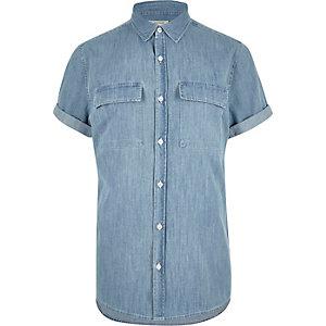 Mid blue wash short sleeve denim shirt