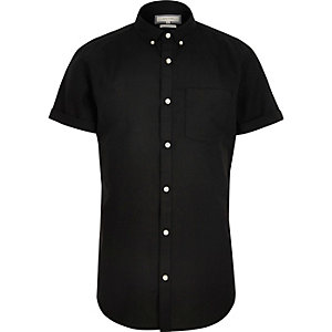 Black casual slim fit Oxford shirt
